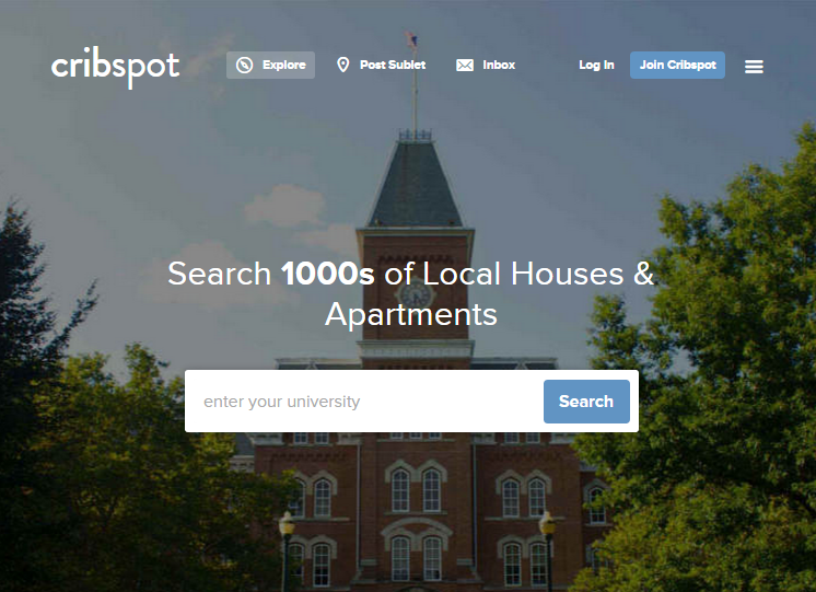 Screenshot of Cribspot website